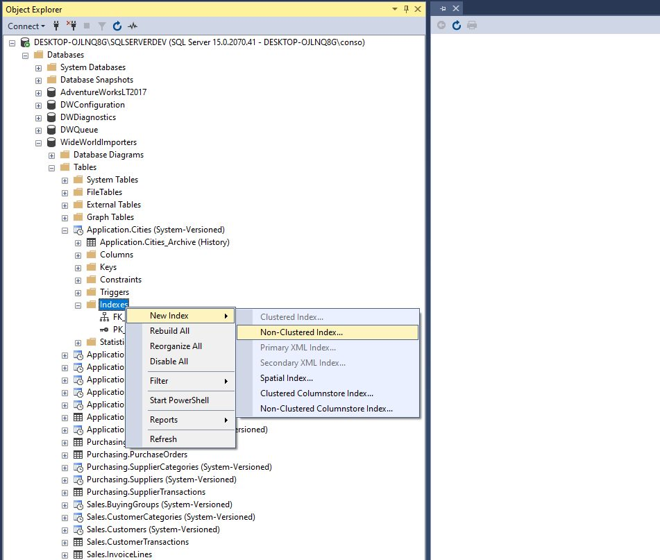 Creating indexes in ssms Step 1